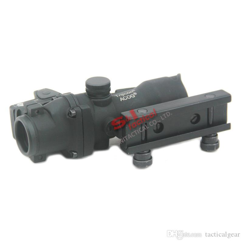 Tactical Trijicon ACOG 4X32 Fiber Source Red Optical Fiber Scope w/ RMR Micro Red Dot Marked Version Black
