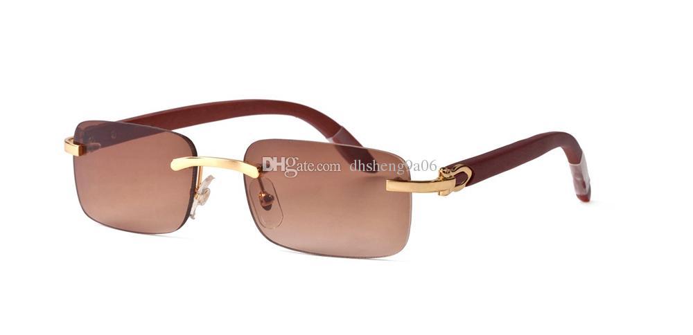 7f64326176 Wholesale Designer Rimless Sunglasses Rectangular White Buffalo Horn Glasses  Men Women Brand Name Bamboo Wood Sunglasses With Clear Lenses Oversized ...