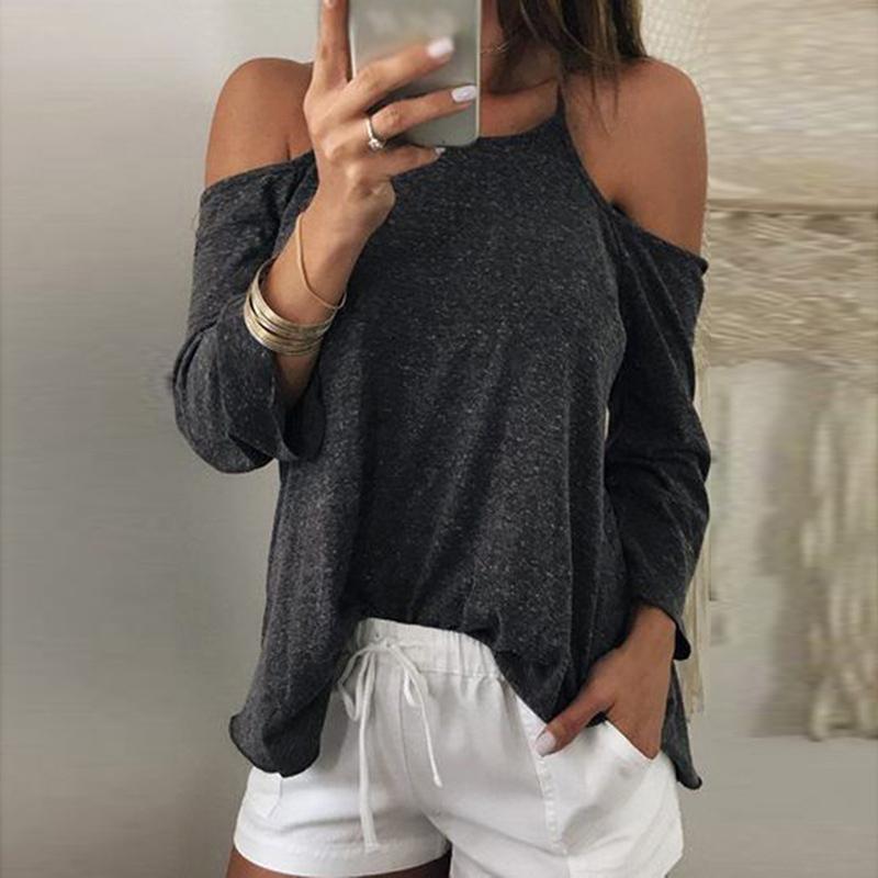 2018 Summer New Women One Shoulder Long Sleeve Sexy Strap Shirt Blouses & Shirts