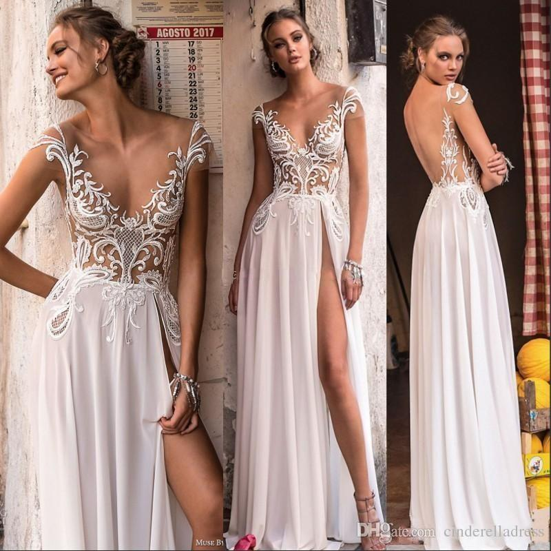 2018 Designer Berta High Split Beach Wedding Dresses Sheer Cap Sleeve Backless Appliques See Through Summer Boho Bridal Gowns