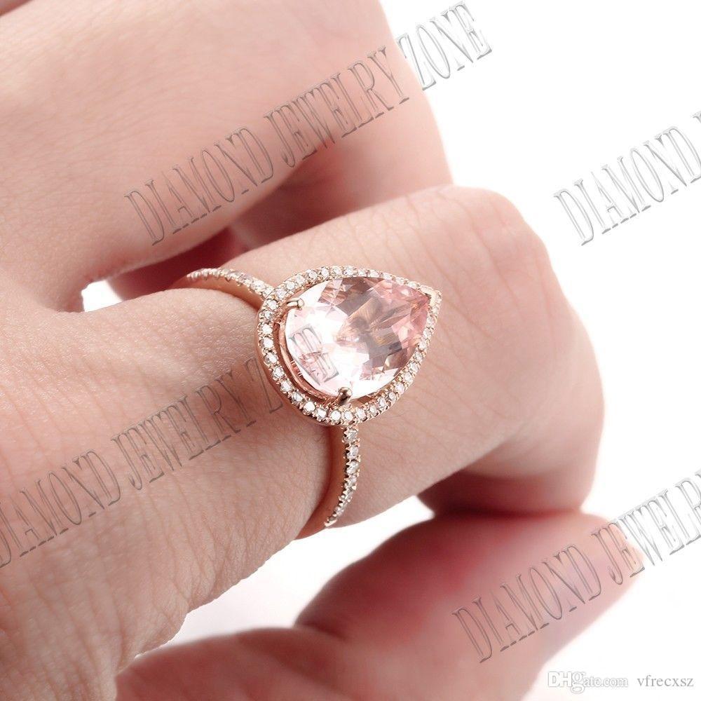 2018 11x7mm Morganite Natural Si Diamonds Engagement Ring Jewelry ...