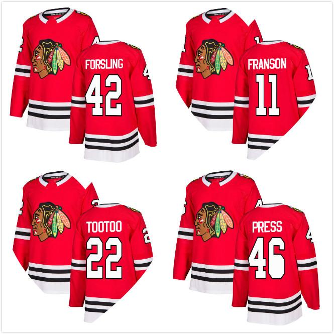 2018 New Robin Press Jersey 22 Jordin Tootoo 42 Gustav Forsling 11 Cody  Franson Chicago Blackhawks Ice Hockey Jerseys RED HOME STITCHED