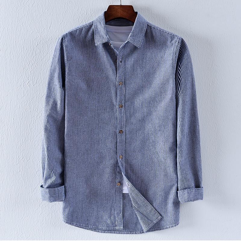 289386e7e6 Nuovo stile Italia Suehaiwe marchio autunno maniche lunghe in cotone  camicie da uomo collare turn-down camicia a righe da uomo chemise overhemd