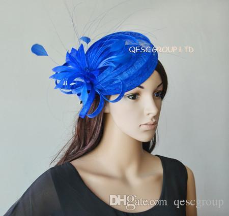 Cobalt Royal Blue Sinamay Hat Fascinator Mini Top Hat Organza Hat W ... 144eb551ca5d