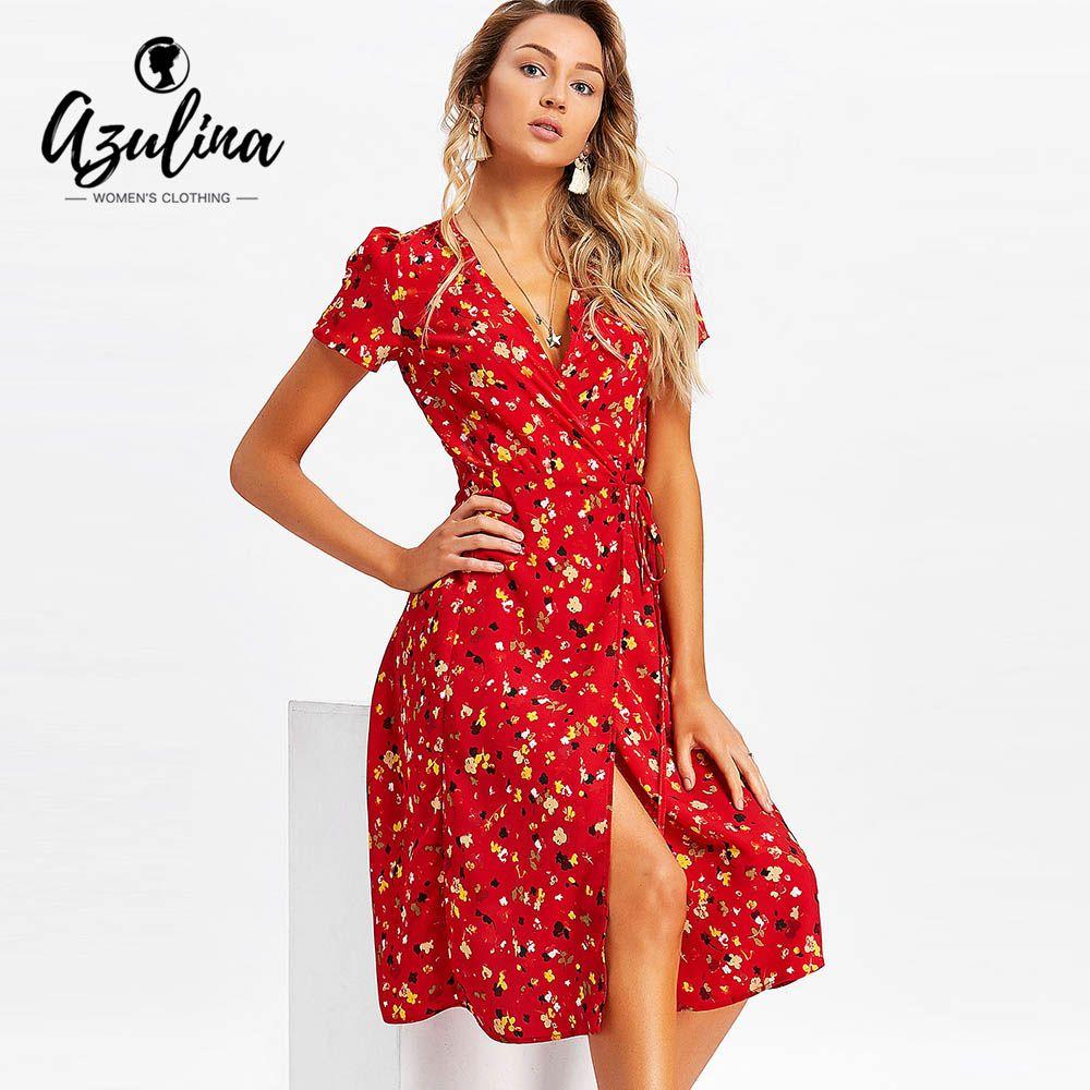 20187 AZULINA Tiny Floral Wrap Midi Dress Women Dresses Summer Beach V Neck Short  Sleeves Midi Dress Vestido 2018 Casual Robe Femme White Cocktail Party ... 3f836254d6fd