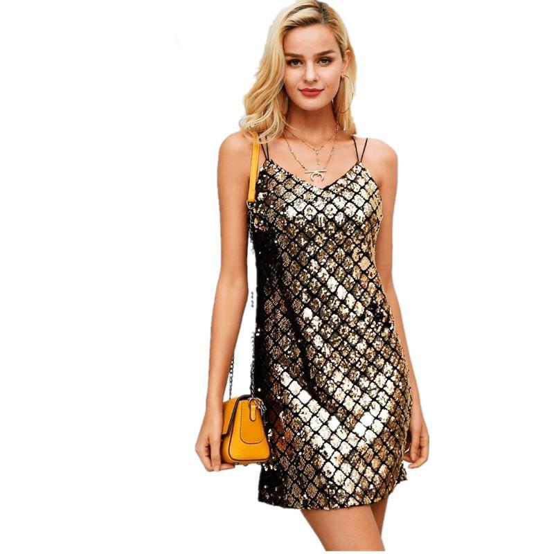 newest 33559 7f1a1 Abito Da Sera Donna Elegante Corto Vintage Glitter Paillettes Vestito Da  Cocktail Smanicato Abbigliamento Dresses V Scollo Slim
