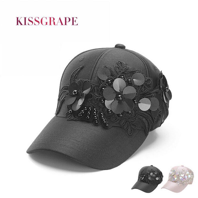 81321e4334a New Spring Summer Women s Baseball Caps Hats Glitter With Flower Sun Hats  Breathable Cap Girl Street Style Snapback Black Flat Caps For Men Womens  Baseball ...