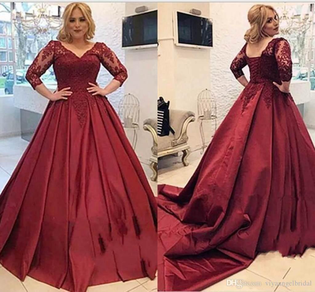 75bf597098ed6 Vintage Burgundy Lace Appliques Stain 2019 Prom Dresses 3/4 Long Sleeves V  Neck Lace Up Back Dark Red Quinceanera Occasion Evening Gowns Plus Size  Prom ...