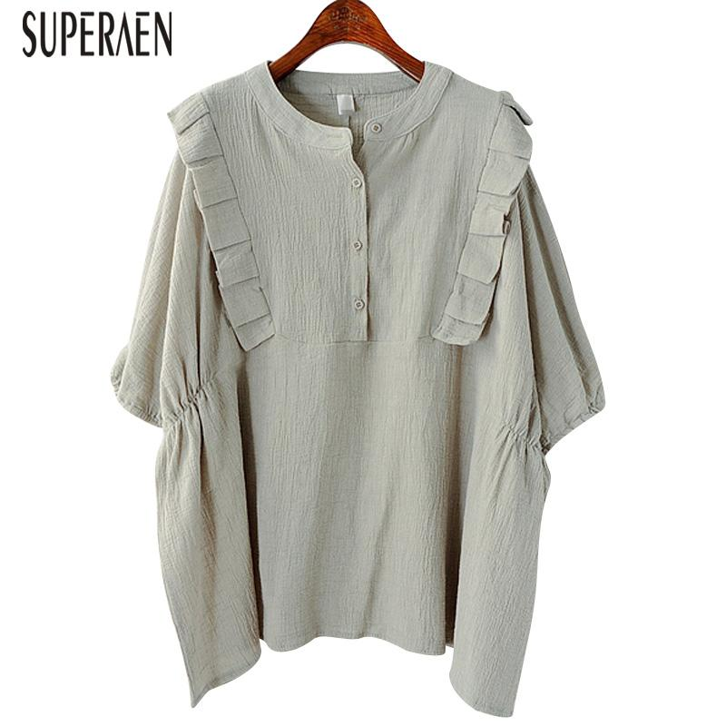 ab5dfc24e9 2019 SuperAen Cotton And Linen Shirt Female Summer 2018 New Pluz Size  Korean Style Women Blouse And Tops Loose Short Sleeved Shirts From Silan
