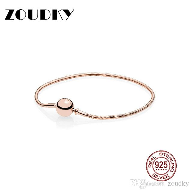 ZOUDKY100% Sterling Silver Classic Logo Round Smooth Rose Clasp Bracelet Bangle for DIY Ladies Gift Jewelry