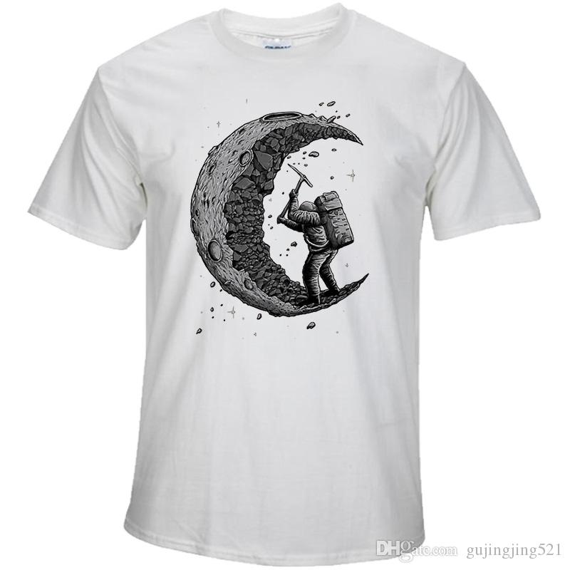 100% Cotton Digging The Moon Print Casual Mens O Neck T
