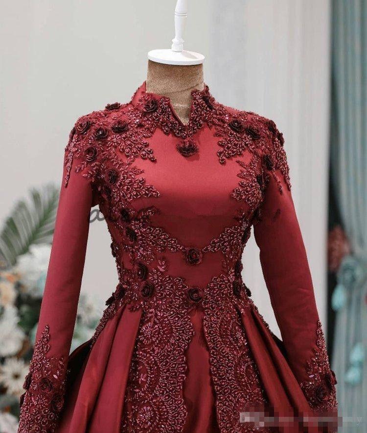 Koyu Kırmızı Arapça Müslüman Abiye Uzun Kollu Boncuklu Yüksek Boyun Balo Balo Abiye Vestidos De Fiesta 3D Aplike Resmi Elbise