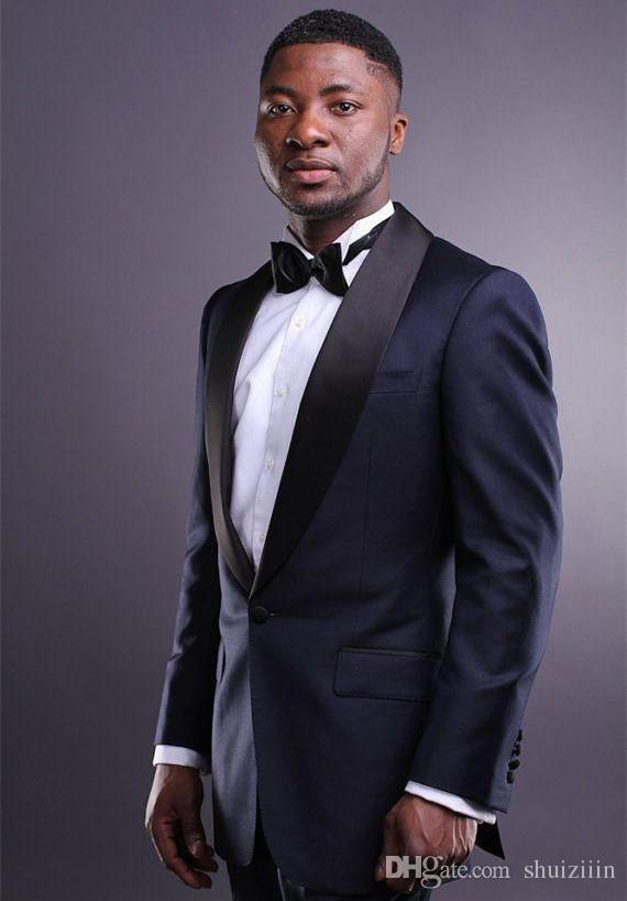 واحد زر الأزرق الداكن العريس البدلات الرسمية الأسود شال صدرية رفقاء العريس تناسب أفضل رجل الدعاوى الزفاف سترة + سروال + التعادل