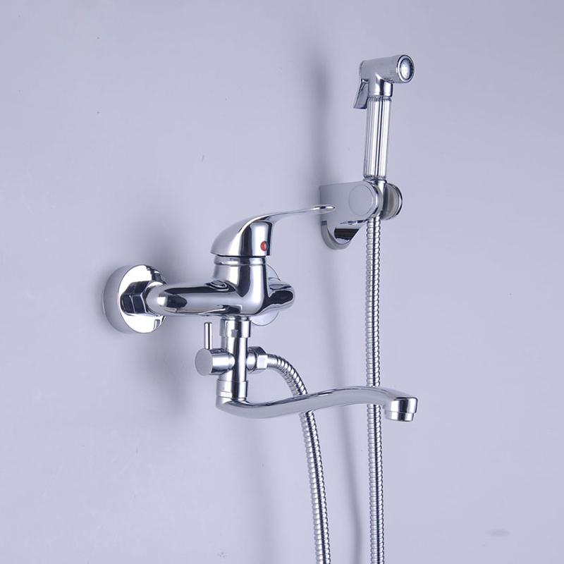 Excellent Bright Chrome Wall Mount Kitchen Sink Faucet With Handshower Single Handle Bidet Sprayer Abs Holder Complete Home Design Collection Epsylindsey Bellcom