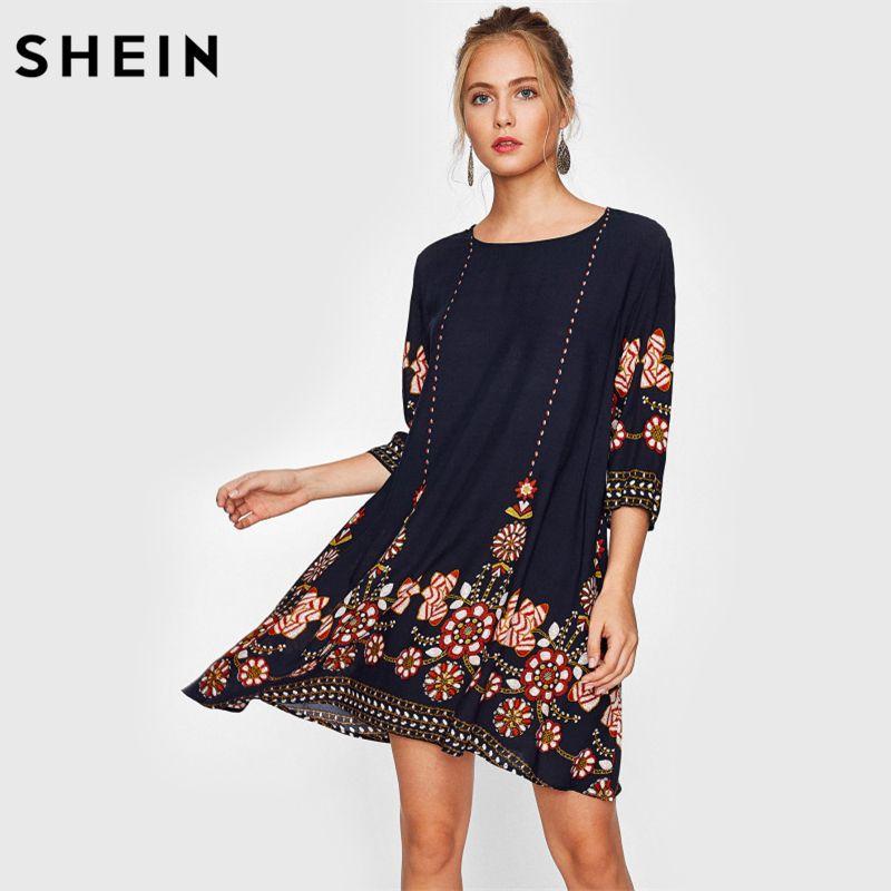 Blumen Herbst Boho Flowy Shein Kleid Großhandel Print Damen XuPOkZiT
