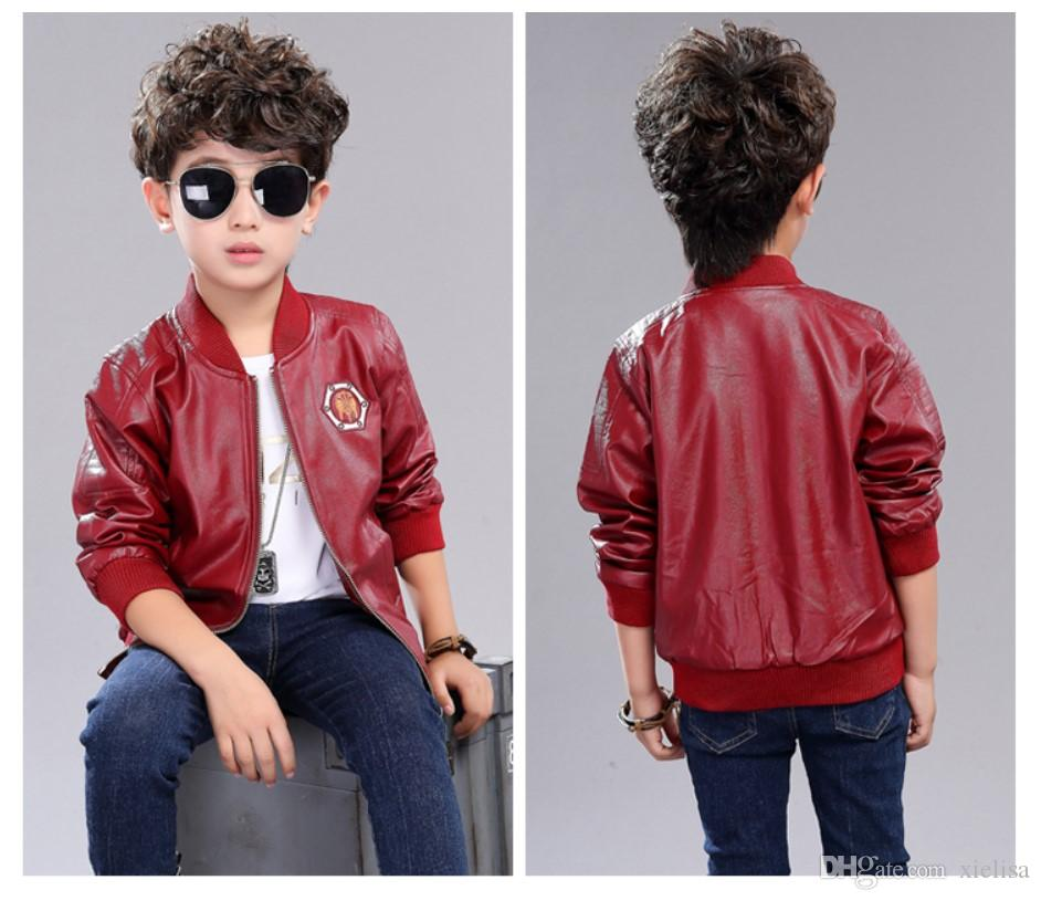 d08089ae0 Winter Jackets Boys Fashion Warm Add Wool Leather Jacket New Year ...
