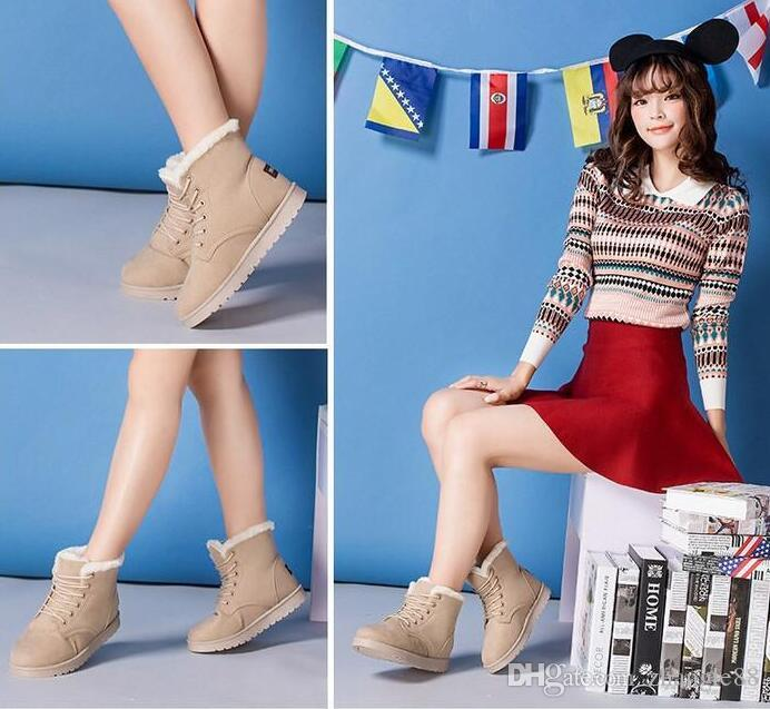 2015 Women Winter Shoes Flat Heel Ankle Boots Casual Cute Warm Shoes  Fashion Snow Boots Women S Boots Grey Boots Brown Ankle Boots From  Zhangle88 aa0178812973