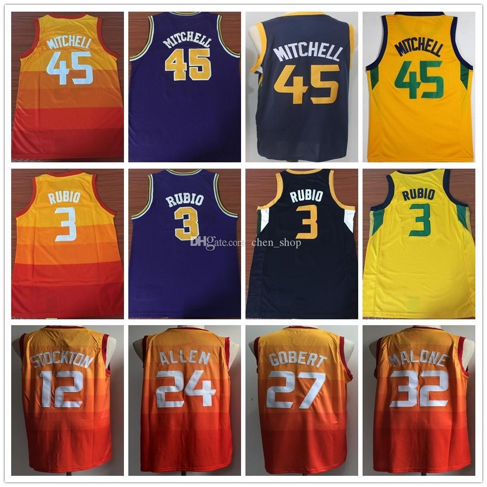 Top Quality Mens  45 Donovan Mitchell Jerseys 12 John Stockton 27 Rudy  Gobert 32 Karl Malone Yellow 3 Ricky Rubio 24 Grayson Allen Ricky Rubio  Jersey Rudy ... 9cc34417c