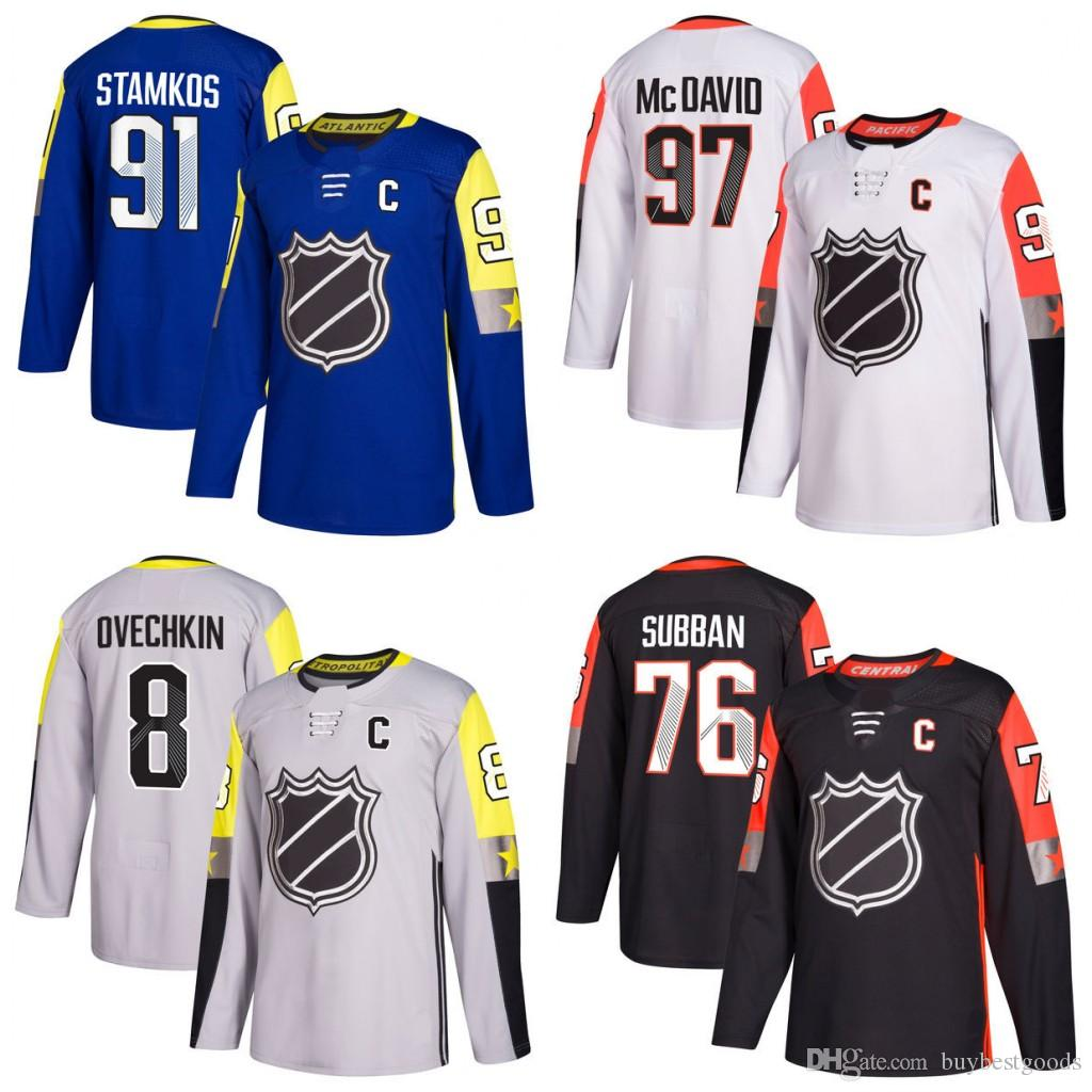 wholesale dealer 23e42 7be59 2018 All-Star Game Jerseys 97 C M 91 Steven Stamkos 8 Alex Ovechkin 76 PK  Subban Hockey Jerseys Stitched