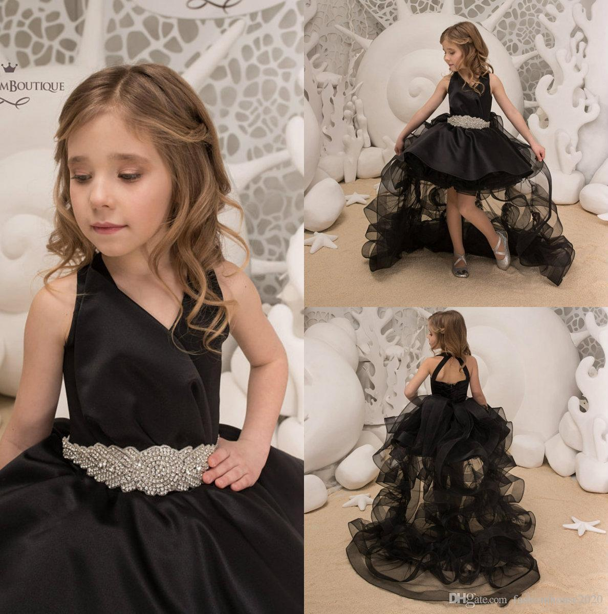 Beautiful Black Ball Gown 2018 Girls Pageant Dresses V Neck High Low ...