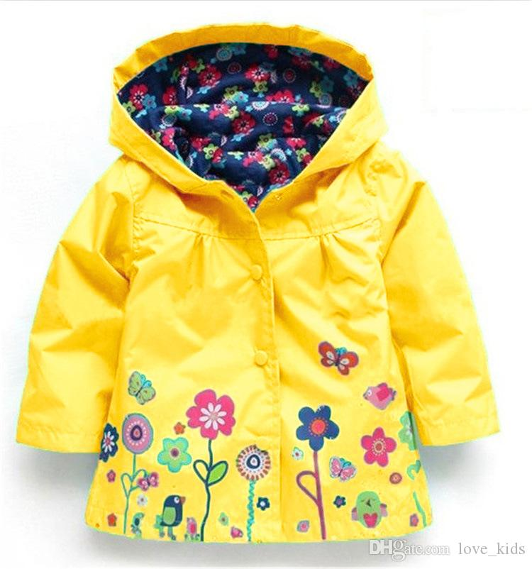 Meninas flor capa de Chuva Crianças Moda Casaco de Inverno Flor capa de Chuva Casaco Para Outwear À Prova de Vento Outwear capa de Chuva Blusão frete grátis