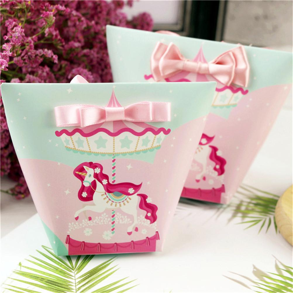 10Pcs Unicorn Flamingos Cactus Shape Gift Boxes Baby Shower Birthday Party Candy Box Cartoon Gift Bag For Kids Party Favor Box