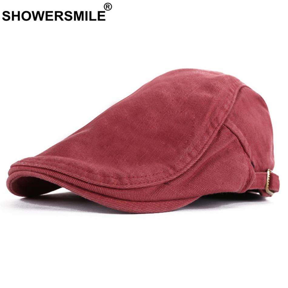 Compre SHOWERSMILE Boinas Rojas Hombres Algodón Ajustable Casual Duckbill  Hat Mujeres Classic Summer Autumn British Ivy Gorra Plana 2018 A  29.0 Del  ... 040d5cb4d65