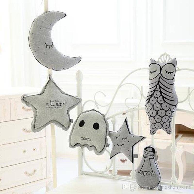 Neue 3 designs baby kinder leuchtenden mond sterne birne design polster  kinder kissen kissen kinderzimmer baumwolle birne dekorative kissen