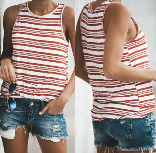 fb51d5cace 2019 Womens Ladies Sleeveless Striped Vest Tank Tops Summer Good Quality Women  Beach Floral Casual Loose Tee Fashion Clothing From Jamie07, $20.72 |  DHgate.