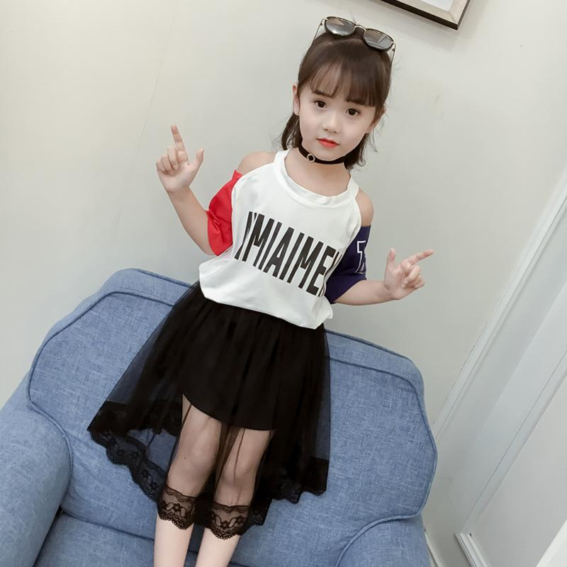 ef0b35157025 2019 2018 New Kids Girls Summer Suit Korean Fashion Tide Clothing  Fashionable Western Style Short Sleeved Two Piece Children Summer From  Fiona baby