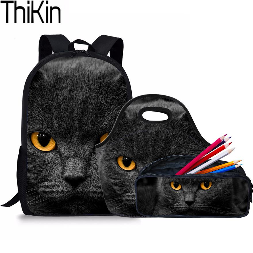 9213976862 THIKIN Cute Black Cat Printing School Bags For Kids Schoolbag Backpacks  Children Shoulder Backpack Girls Book Bag Bolsa Cheap Handbags Burton  Rucksack From ...