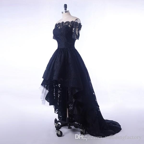 Black Lace Dress Evening Short Front Long Back Boat Neck Prom Dresses For Elegant Women Formal Party Short Sleeve Hi Low