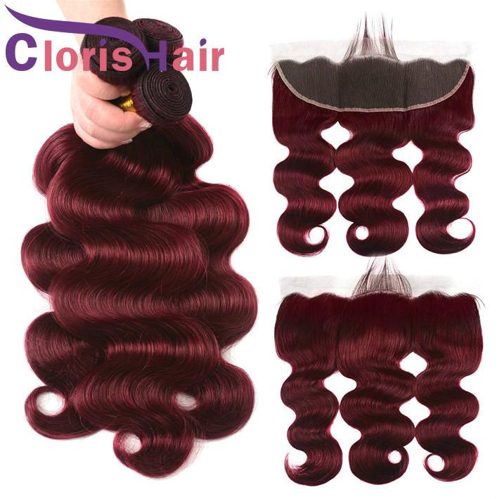 Wine Red Human Hair Bundles With Closure Raw Virgin Indian Body Wave Extensions 13x4 Full Lace Frontals Piece 99j Burgundy Weaves Closure
