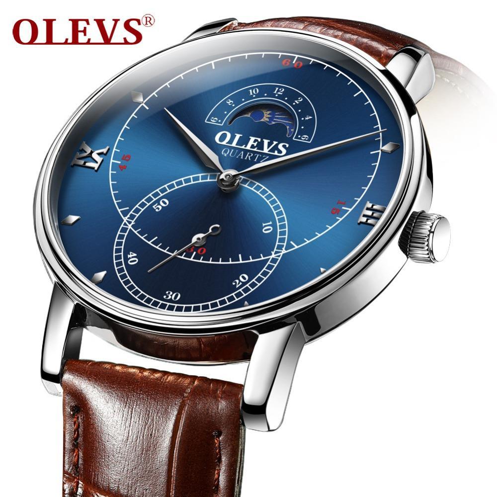 5f573960de5d OLEVS Jam Tangan Men Watches Original Fashion Sports Quartz Watch Leather  Watche 5874 Best Wrist Watches The Best Watches From Wdrf