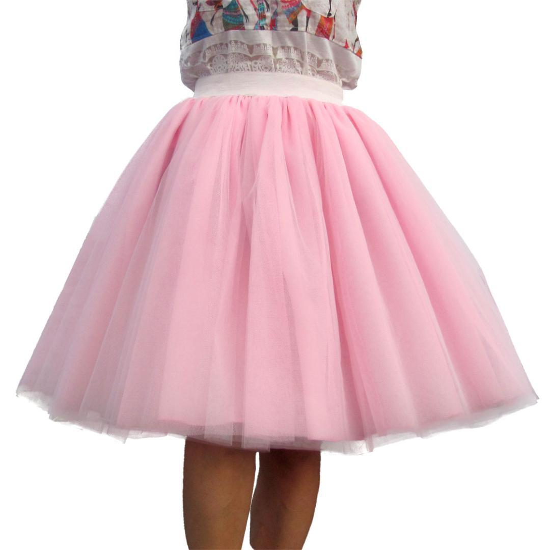 c309ec54f Custom Made Women Tulle Skirt 6 Layer of White Pink Black Ball Gown High  waist falda Midi knee length Plus Size Tutu skirts