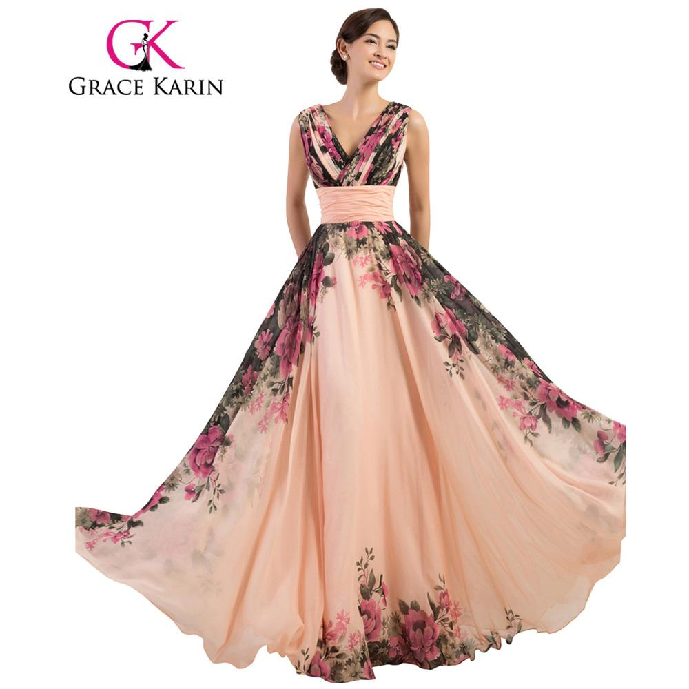 2019 Grace Karin Prom Dress Long Flower Printed Cheap Prom Gown A Line  Chiffon New Arrival Real Photo Special Occasion Dresses 2018 C18111601 From  Lizhang03 ... f76e610ef19c