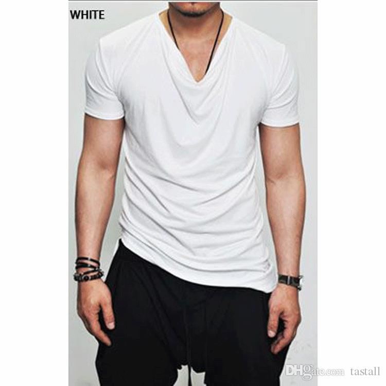 806cc60bc5a3 Summer New Mens Draped Tee Round Neck Simple Slim Solid Color Short Sleeved  T Shirt Fold Tops For Men T Shirts For T Shirt For From Tastall