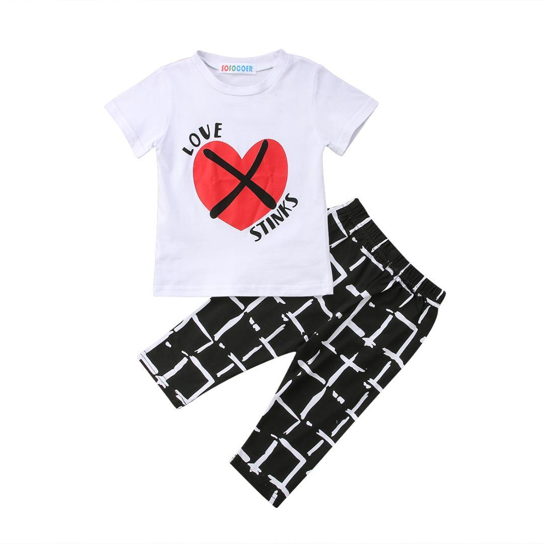 5a0a667c5dc1 2019 Summer Newborn Kids Baby Boy Girl Love Heart Tops T Shirt & Geometric  Pants Outfits Clothes1 5T From Fragranter, $37.91 | DHgate.Com