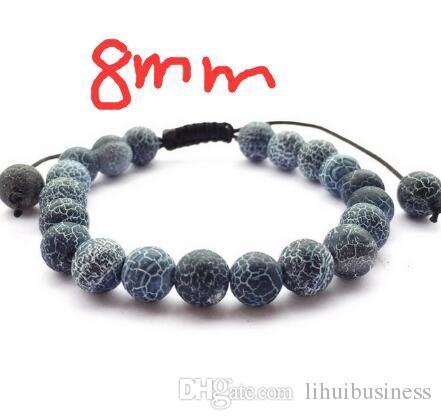 6 pz / lotto vendita calda fai da te gioielli braccialetto di perline intrecciato nero glassato esposto all'aria braccialetto di onice unisex onice in rilievo impilabile 6mm 8mm 10mm 12mm