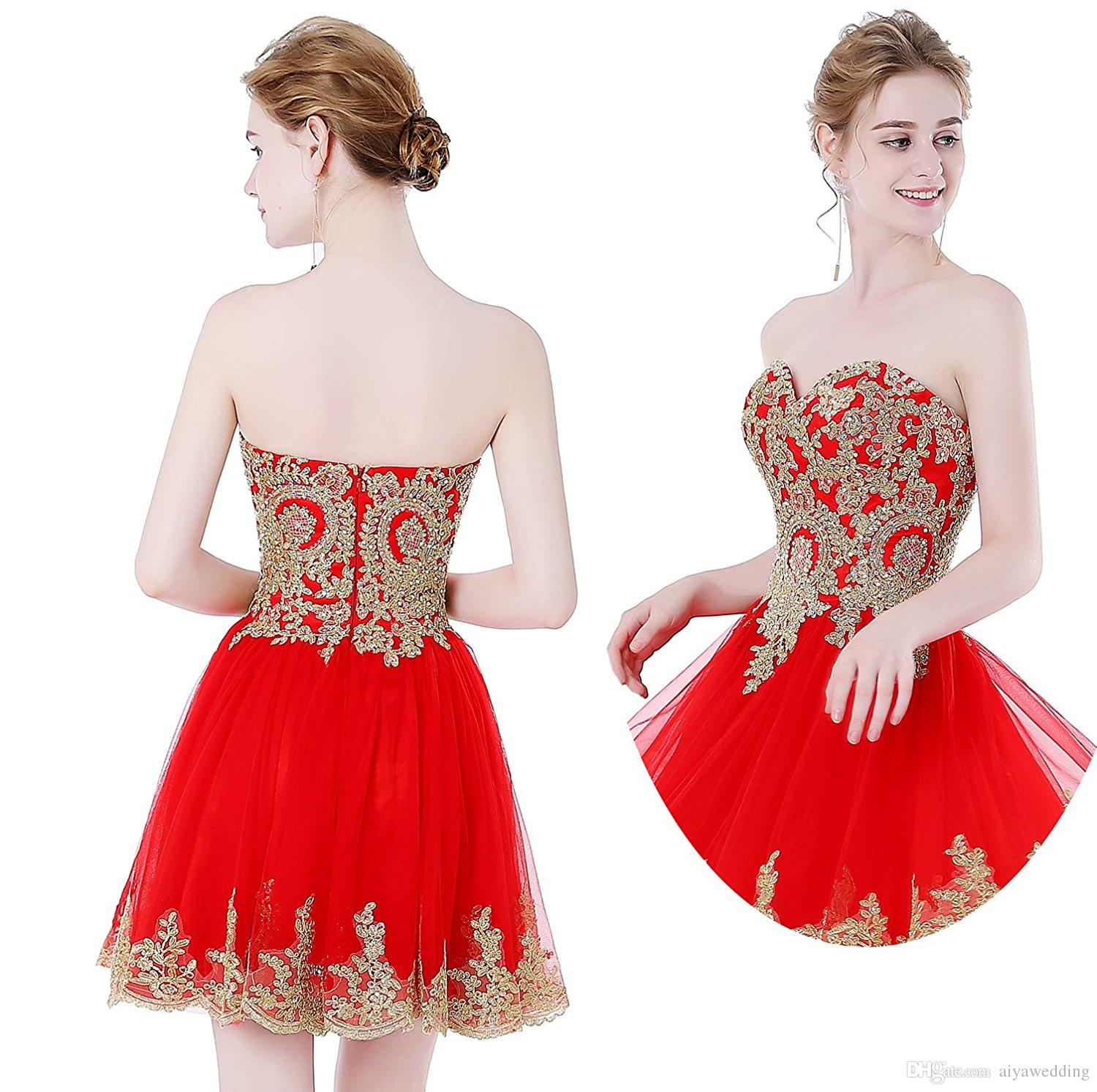 2019 Sweetheart Gold Lace Appliques Homecoming Dresses Short Tulle A Line Graduation Wear Cocktail Party Gwon