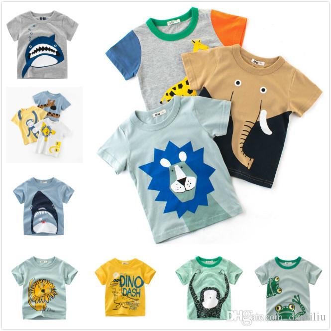 5f27992a4f20fa 2019 Cheap Summer Baby Boys Kids Cotton Tops Tees Lion Elephants Giraffe  Monkey Dinosaur Frog Whales Animal T Shirts Clothing 90cm 140cm From  Damiliu
