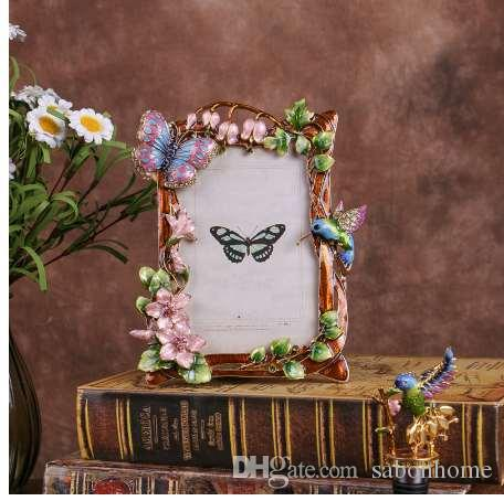4X6 inch New Photo Frame Cute Diamond Bird Metal Creative Home Decoration Wedding Photo frame birthday gift wholesale