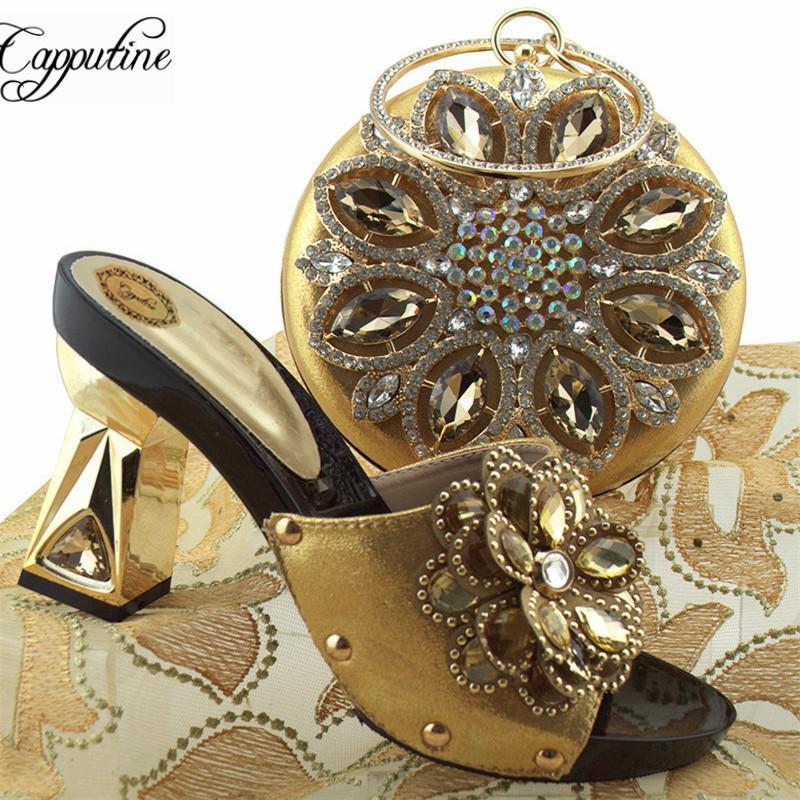 Großhandel Großhandel Neue Ankunft Frau Gold Farbe Schuhe Und Tasche