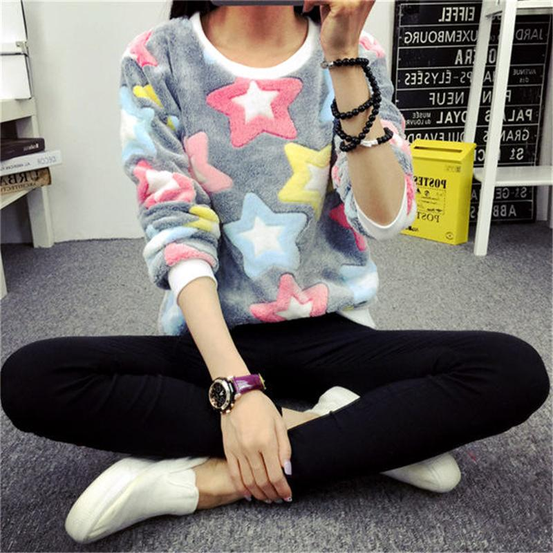 Women Knit Sweatshirts 2018 Stars Print Harajuku Jumper Micro Stretch Spring Winter Pull Femme Sexy Bottoming Knitted Hoodies