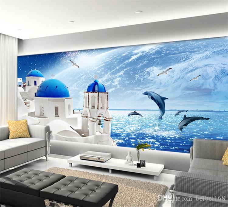 Blue Sky Sea World Castle Wall Mural Photo Wallpaper for Living Room Kids Bedroom Wallpapers Roll papel de parede 3d CustomSize