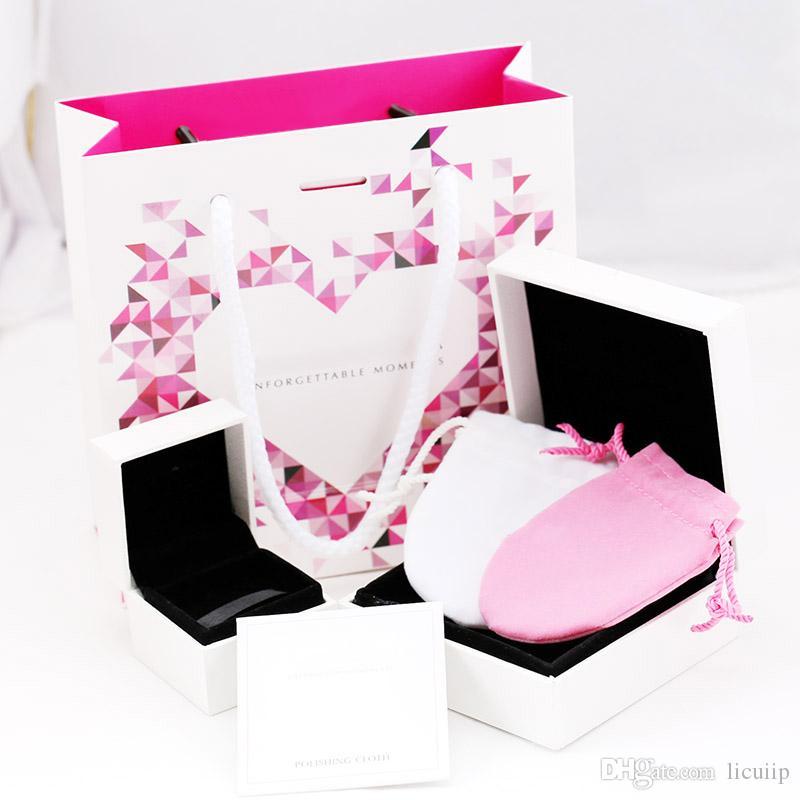Alta qualidade Marca de Jóias Caixas de Embalagem Para Pandora Encantos Caixa Pulseira sacos Anel Caixa de Presente Original Polido pano conjunto com papel