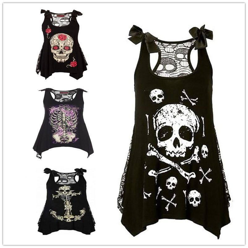 ca3a08e0033 2019 Four Color Large Size S 5XL Women S Skull Print Lace Hollow Shoulders  Bow Strap Casual Wild Camisole From Surmax1
