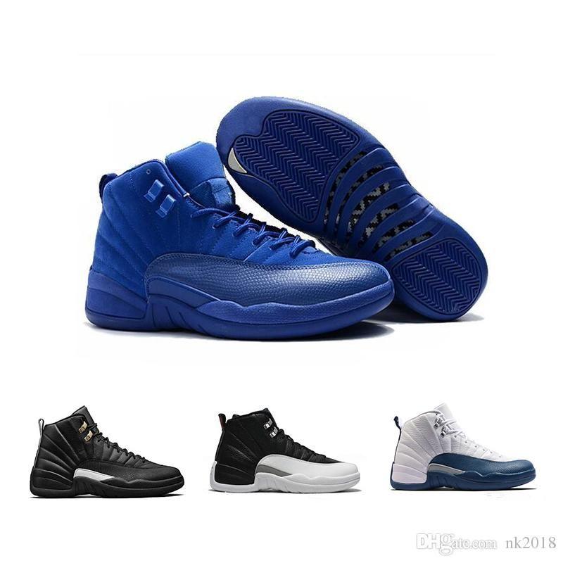 wholesale dealer 5cb5f 832b8 Acheter Nike Air Jordan 12 AJ12 Chaussures De Basket Ball 12 Laine Noir  Gris FLU Jeu TAXI Français Bleu Gym Rouge Loup Gris Playoff Bleu Gamma GS  Barons ...