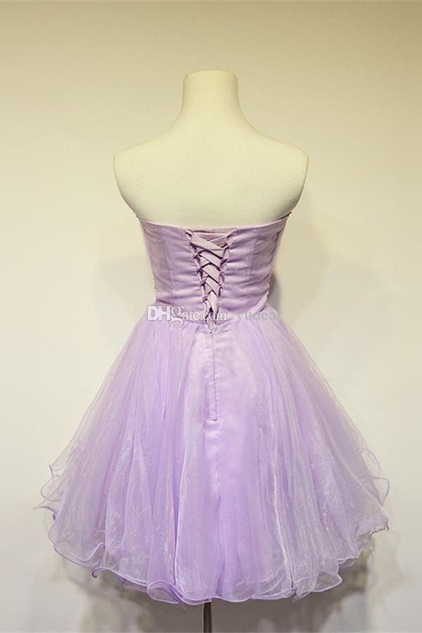 Sexy Strapless 2019 Tulle A-line Homecoming Dresses Short Crystal Beadings Corset Backless Vestido de Fiesta Maid of Honor Beaded Prom Dress