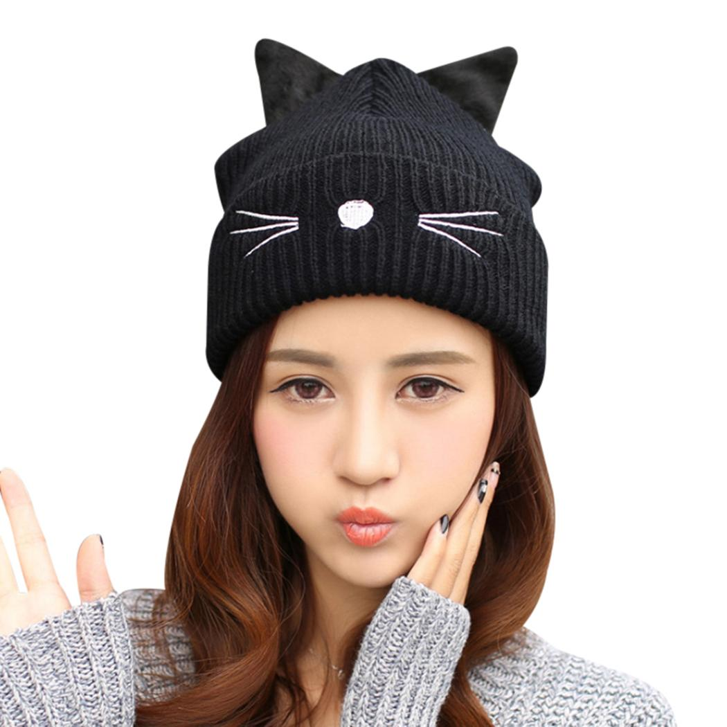 Autumn Winter Women S Beanies Hat Ladies Warm Skullies Cap Ear Flaps Girls  Bonnet Touca Beanie Devil Horns Cat Ear Crochet Hats Black Beanie Crochet  Beanie ... 8cb7f029ba